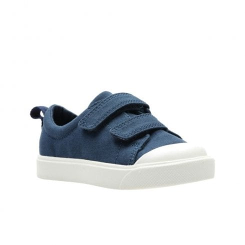 Clarks Boys City Flare Lo Toddler G Velcro Trainers - Navy Canvas