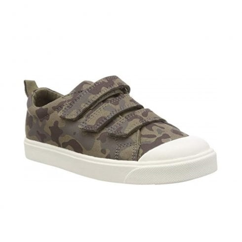 6e49d8713db2 Clarks Boys City Flare Lo Junior G Velcro Trainers - Olive Camo   Millars  Shoe Store