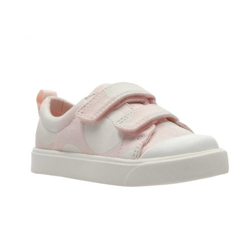 Clarks Girls City Flare Lo Toddler F Velcro Trainers - Pink Combi