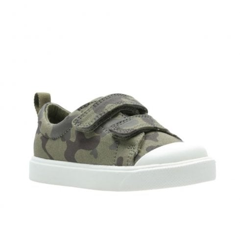 Clarks Boys City Flare Lo Toddler G Velcro Trainers - Olive Camo