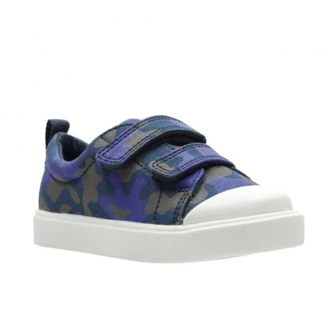 Clarks Boys City Flare Lo Toddler F Velcro Trainers - Navy Camo