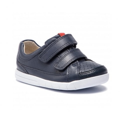 Clarks Boys Emery Walk Toddler H Kids Velcro Shoes - Navy Leather