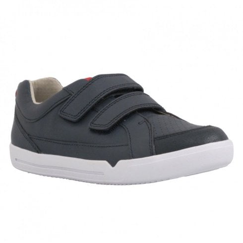 Clarks Boys Emery Walk Junior F Kids Velcro Shoes - Navy Leather