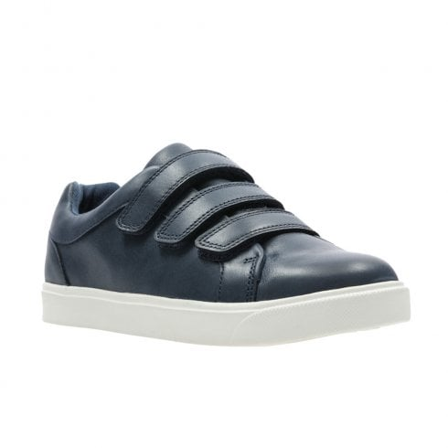 Clarks Boys City Oasis Lo Junior G Kids Velcro Shoes - Navy Leather