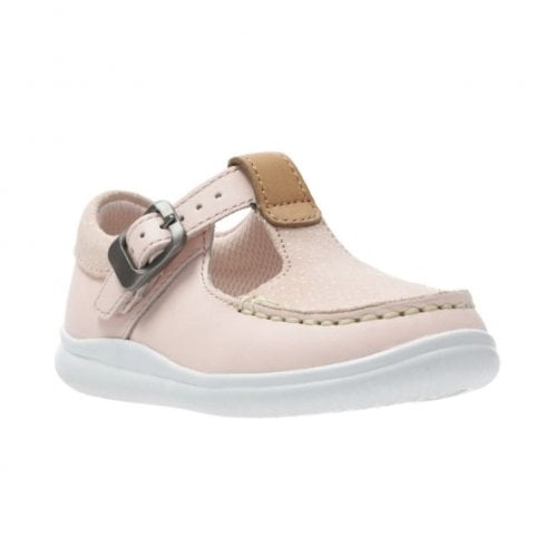 Clarks Girls Cloud Rosa Toddler G Kids T-bar Shoes - Pink Leather
