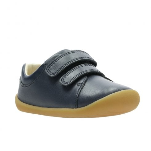 Clarks Girls/Boys Roamer Craft H Toddler Kids Leather Shoes - Navy