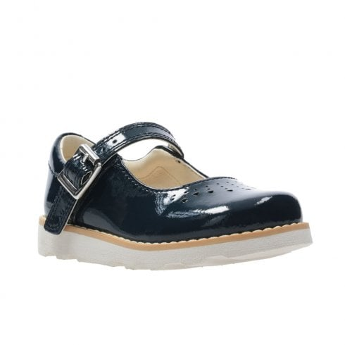 Clarks Girls Crown Jump G Toddler Kids Leather Mary Jane Shoes - Navy Patent