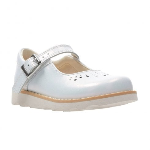 Clarks Girls Crown Jump F Toddler Kids Leather Mary Jane Shoes - White Interest