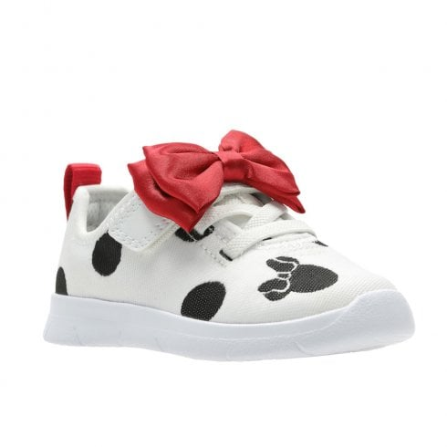 Clarks Girls Ath Bow F Toddler Kids Sport Shoes - White Combi