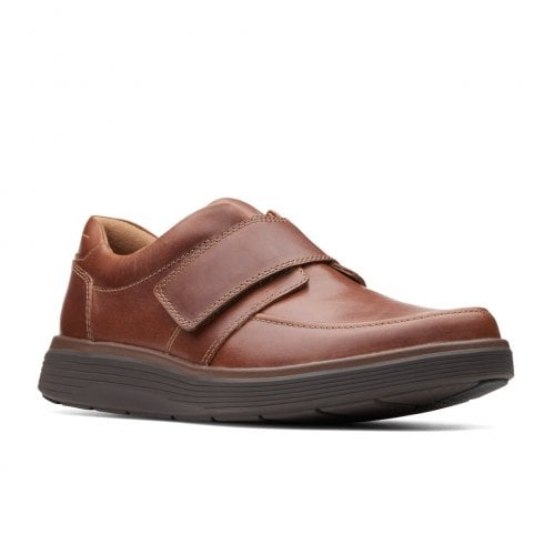 Clarks Un Abode Strap Mens Casual Smart Shoes - Dark Tan Leather