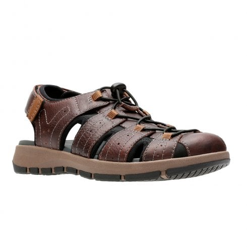 Clarks Brixby Cove Mens Velcro Sandals - Dark Brown Leather