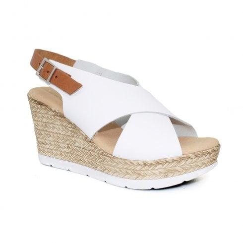 a588ed2bb Lunar Barcelona Leather Wedge Heeled Slingback Sandals - White ...