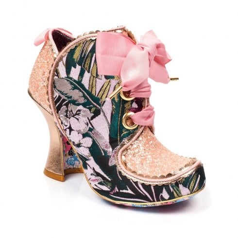 Irregular Choice Baroness Ribbon Laces Ankle Boots - Pink Multi