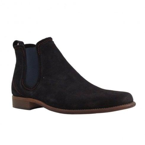 Escape Shoes Escape Mens Austin Pull Tab Chelsea Ankle Boots - Navy Suede