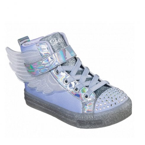 Skechers Girls Twinkle Toes: Shuffle Brights Sparkle Wings Periwinkle Sneakers - Blue