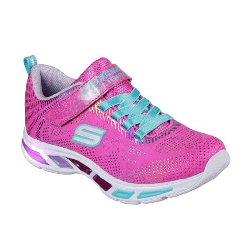 Skechers Girls S Lights: Litebeams Gleam N' Dream Sneakers - Neon Pink