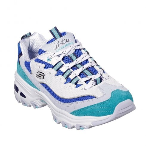 Skechers D'Lites Second Chance 13146 Leather Sneakers - White Blue