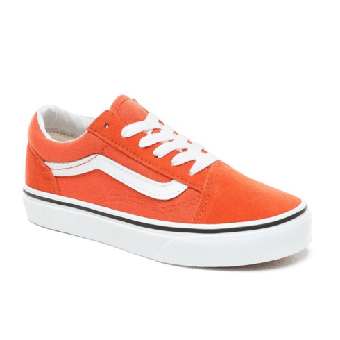 Vans Kids Old Skool Lace Up Trainers Shoes - Koi Orange