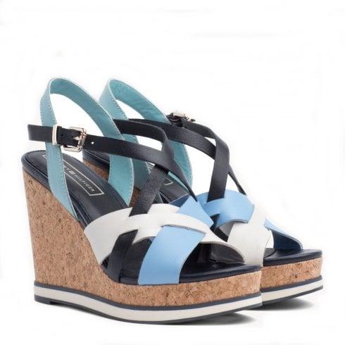 Tommy Hilfiger Contrast Strap High Wedge Sandals - Blue/Beige