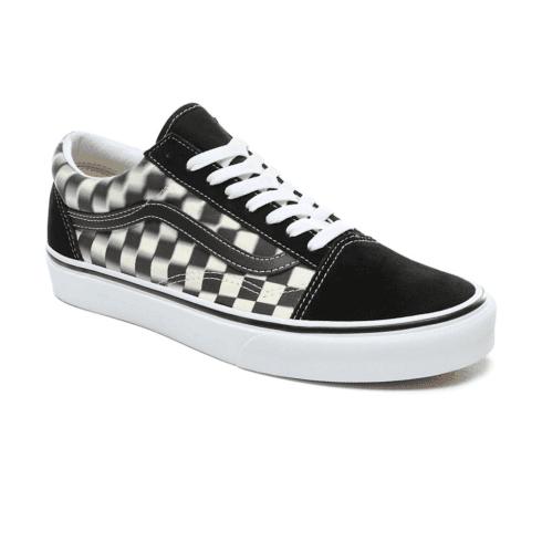 Vans Unisex Blur Check Old Skool Low Top Sneakers - Black/Classic White