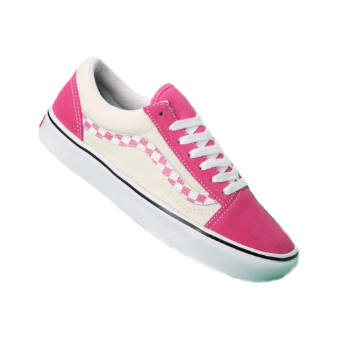Vans Womens Sidestripe Check Comfycush Old Skool Sneakers - Carmine Rose