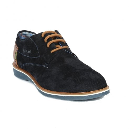 Bugatti Mens Navy Suede Leather Lace Up Shoes - 312-64702