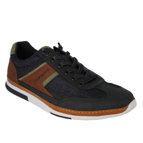 Bugatti Mens Navy Tan Lace Up Casual Sneakers Shoes - 321-73202