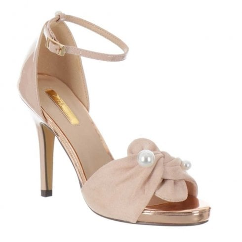 Glamour Katie Knot Pearl Heeled Sandals - Nude