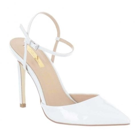 Glamour Camie Patent Pointed Toe Sandals - White