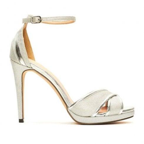 save off 9d233 05c8c Menbur Valturva Silver High Heeled Strappy Sandals - 20223