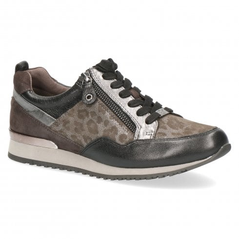 Caprice Leather Lace Up Low Wedge Sneakers Shoes - Grey leopard