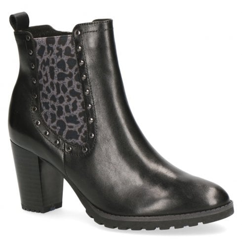 06093587 Caprice Leather Block Heeled Ankle Boots - Black Leo Brown / Millars Shoe  Store