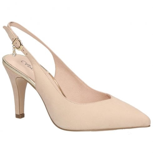Caprice Premium Leather Pointed Toe Slim High Heels - Beige
