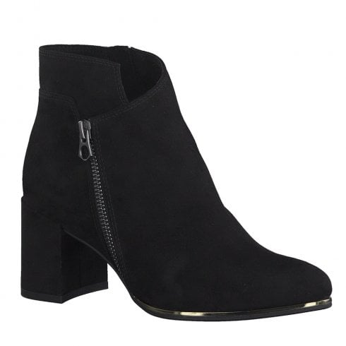 Marco Tozzi Womens Block Heeled Suede Ankle Boots - Black
