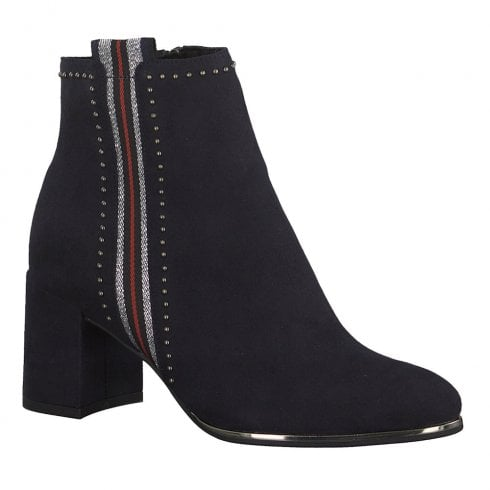 Marco Tozzi Womens Mid Block Heel Ankle Boots 25379 - Navy