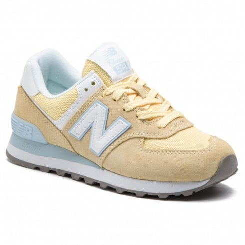 New Balance Womens 574 Yellow Suede Sneakers
