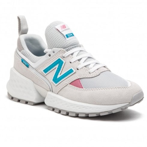 New Balance Womens 574 White Teal Suede Mesh Sneakers - WS574PRA