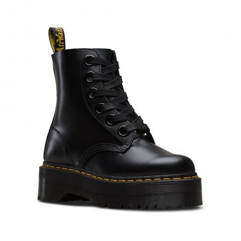 Dr. Martens Dr Martens Womens Molly Commando Sole Retro Ankle Boots - Black Leather