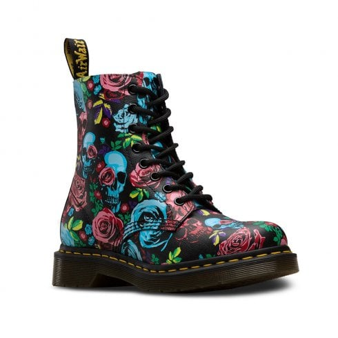 Dr. Martens Dr Martens Womens 1460 Pascal Rose Ankle Lace Up Boots - Black/Multi Roses