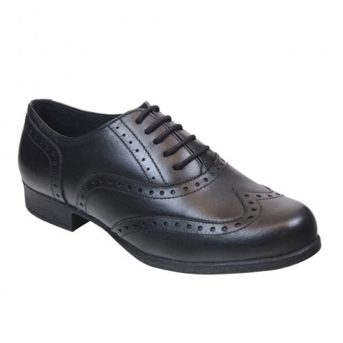 Term Bella Black Leather Brogue School Shoes