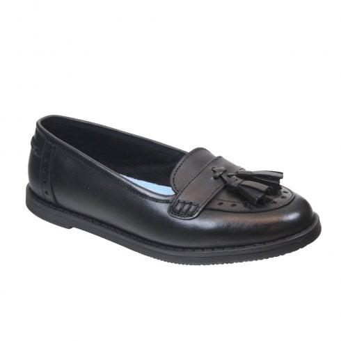 Term Girls Harley Slip On Tassel Loafer Shoes - Black Leather