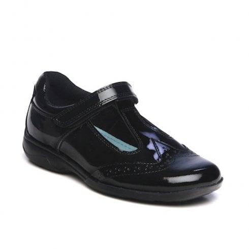Term Girls Janine T-Bar Velcro School Shoes - Black Patent