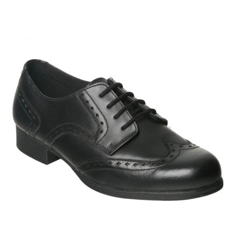 Term® Term Girls Meghan Black Leather Brogue School Shoes