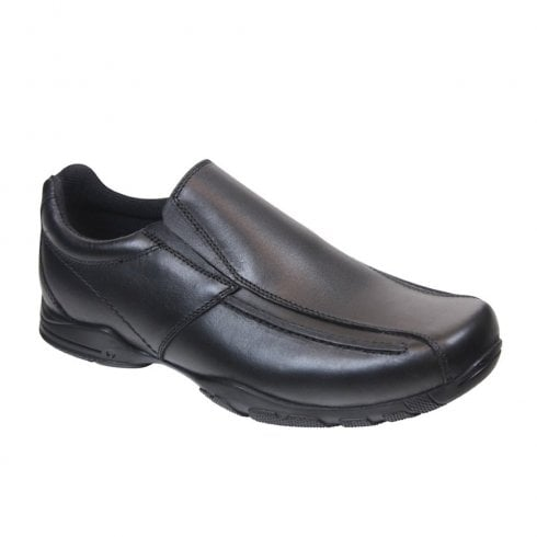 Term Boys Hoddle Slip on Loafers School Shoes - Black Leather