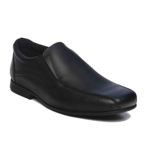 Term® Term Boys Stan Slip On Loafer School Shoes - Black Leather