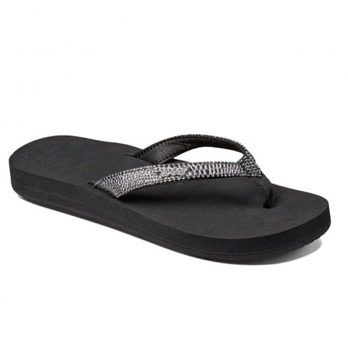 Reef Womens Star Cushion Sassy Black Silver Flip Flops Sandals - RF001384BLS