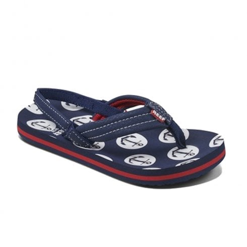 Reef Kids Little Ahi Back Strap Anchors Navy Flip Flops Sandals - RF002345ANC