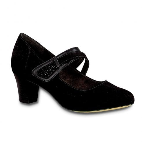 Soft Line Jana Womens Black Mid Heeled Velcro Mary Jane Court Shoes - 24491