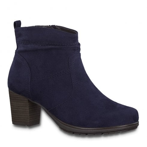 Soft Line Jana Womens Navy Suede Mid Heeled Ankle Boots - 25371
