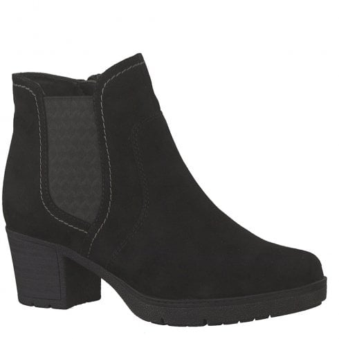 Soft Line Jana Womens Black Suede Mid Heeled Ankle Boots